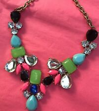 J Crew Necklace Authentic Statement Jewelry Gold Neon Pink Blue Green Crystals