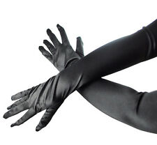 "19"" Long Sexy Elegant Ladies Black Satin Evening Gloves Lingerie FanDress"