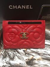 NWT CHANEL 2016 Dark Red Caviar Camellia Flower Card Case Holder O-Case Wallet