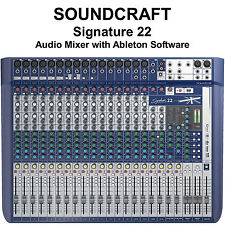 SOUNDCRAFT SIGNATURE 22 FX USB Ableton Live 9 Lite Audio Mixer $35 Instant Off