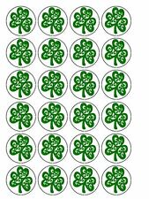 "30 x St Patrick's Day Shamrock 1.5"" PRE-CUT Cupcake / Cake Toppers Decorations"