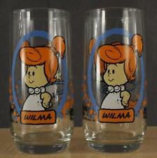 1986 Lot 2 FLINTSTONES Pizza Hut Cartoon Swanky Swig Glasses WILMA by LIBBEY