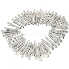 50Pcs Metal Prong Crocodile Alligator Hair Clip Pinch with Teeth Bows DIY Silver