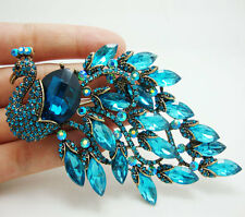Classical Bird Peacock Blue Crystal Rhinestone Art Nouveau Gold-plated Brooch