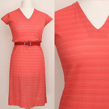 VINTAGE 1970S RED STRIPED RETRO CASUAL SPORTY SUMMER DAY DRESS (TLC/FAULTY)