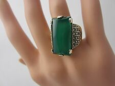 Sterling silver green chalcedony marcasite ring chrysoprase