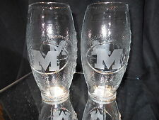 UNIVERSITY OF MICHIGAN WOLVERINES  2 ETCHED LOGO FOOTBALL GLASSES 23oz NEW