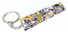 Sticker Bomb Keyring / Key Ring Tag JDM Drift Car Cool Fun Stickerbomb