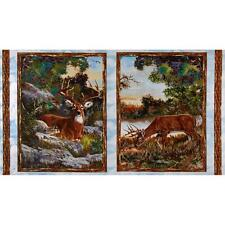 """""""A Change of Scenery"""" FLANNEL Wall Hanging Fabric Panel 100% Cotton- Deer/ Buck"""