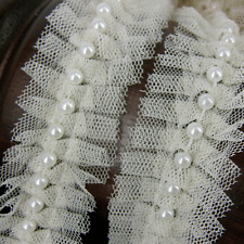 Cream Lace and Pearl Beaded Trim Ribbon Wedding Bridal  Vintage Inspired