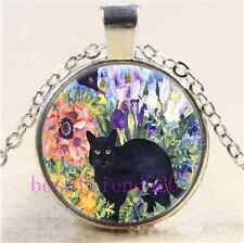 Back Cat In The Garden Cabochon Glass Tibet Silver Chain Pendant Necklace