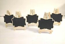 NEW SET OF 5 Mini Wooden Chalkboard Label Frame Sign W/ Easel Wedding Place Card