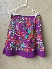 Women's Boden 6 8 Skirt Purple Blue Snails Flowers Side Zipper Tan Lining