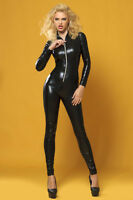 CATSUIT OVERALL WETLOOK Clubwear Party GOGO SCHWARZ Gr. S/M  36/38