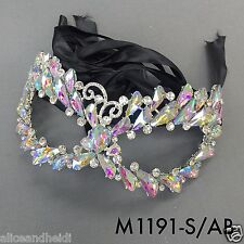 Rhinestones Masquerade Mardi Gras Cat Eye Design Elegant Mask With Black Ribbon