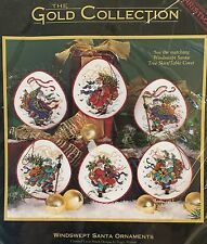 Dimensions Windswept Santa Ornaments Counted Cross Stitch Kit Gold Collection