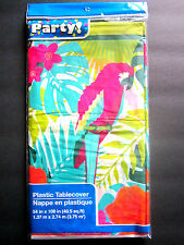"""Parrot Colorful Luau Party Lightweight Plastic Table Cover 54"""" x 108"""" BRAND NEW!"""