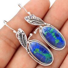 Malachite In Azurite Floral 925 Sterling Silver Earrings Jewelry SE112958