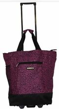 "20"" Pink leopard print Wheeled Rolling Shopping Tote Bag w/ Retractable Handle"