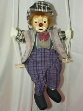 HOBO CLOWN PUPPET DOLL ON SWING HANGING PORCELAIN FACE