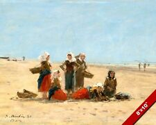 WOMEN ON THE BEACH OF BERCK FRANCE PAINTING ART REAL CANVAS GICLEE PRINT