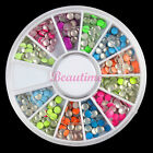 Nail Art 3mm Neon Rivet Round Metal Stud Rhinestone DIY 3D Decoration 6cm Wheel