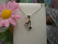 SLEEK HAND-HOLDING- GENUINE SAPPHIRE GEMSTONE STERLING SILVER PENDANT NECKLACE