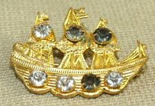 Vintage Art Deco Prong Set Faceted Glass Spanish Galleon Ship Pin Brooch