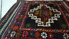 WOW Early 1900 ANTIQUE KURD RUG-BIJAR SADDLEBAG TUFTED  CENTER FLATWEAVE BACK