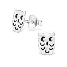 Sterling Silver 925 Simple Owl Stud Earrings
