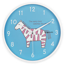 DecoMates Home Decor Non-Ticking Silent Children's Wall Clock - Pink Zebra
