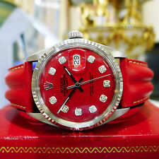 Mens Vintage ROLEX Oyster Perpetual Datejust Steel & Gold Red Diamond Dial Watch