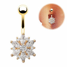 Cute Belly Button Ring Crystal Rhinestone Flower Jewelry Navel Bar Body Piercing