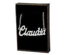 "Name Necklace ""CLAUDIA"" - 18ct White Gold Plated - Swarovski Elements - Wedding"