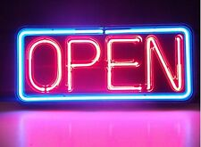 "New Open Sign Window Wall Real Glass Handcrafted  Neon Light Sign 17'x8"" V1M"