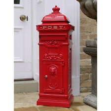 RED Post Box Cassetta delle lettere vintage anitique CAST alluminio metallico in Bloccabile cassetta postale