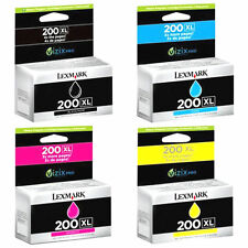 4 Pk Genuine Lexmark 200XL Set Ink Cartridges Black Cyan Magenta Yellow Pro 4000