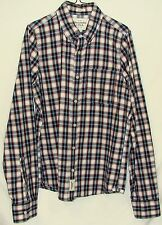 A&F Abercrombie Muscle Mens Plaid Long Sleeve Button Down Pocket Shirt Large L