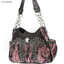 WHB869 PK/BN CAMO TWO COMPART WESTERN RHINESTONE CONCEALED CARRY HANDBAG COWGIRL