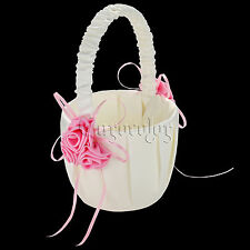 Pink Hot Wedding Party Girl Flower Baskets With Pink Satin Rose Flower Decor