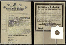 Nepal World War II Gurkha Coin - Made from Bullet Casings- Cert. Of Authenticity