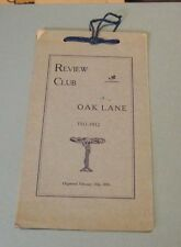 1911 1912 Review Club of Oak Lane Philadelphia PA Plan of Work Calendar France