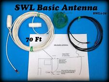 Shortwave, SWL, AM, OC, Basic longwire antenna Kit. 70 ft