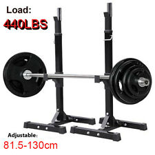 2x Squat Rack Stand Bench Press Weight Lifting Barbell Gym Fitness US Adjustable