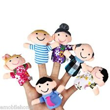 6 Pcs Educational Family Finger Puppets Cloth Doll Cartoon Toy