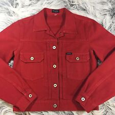Vintage Guess? Jeans Denim Jean Jacket Red Made in USA Size M 1990s