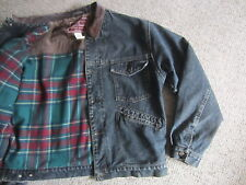 VTG GAP FLANNEL PLAID LINED LEATHER COLLAR DENIM JEAN TRUCKER JACKET MENS XL