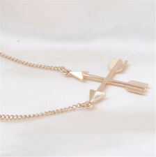 Women Fashion Popular Piercing Crossed X Arrow Pendant Rose gold Necklace !
