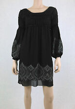 NWT MAX STUDIO M.S.S.P Embroidered Dress Empire Waist Ruched Chiffon Black XS