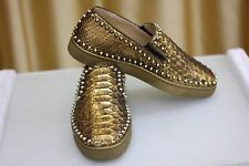 NEW CHRISTIAN LOUBOUTIN Pik Boat Flat Spikes Gold Python Sneaker Loafers Shoe 41